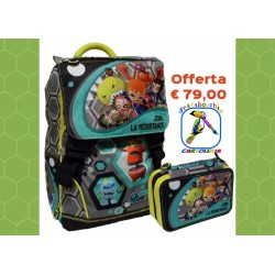 Zaino Mutant Buster Estensibile  con Astuccio 3 zip School Pack