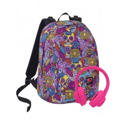 Zaino SEVEN THE DOUBLE -SKULL GIRL - Azzurro Rosa - - cuffie stereo Soft Touch! 2 zaini in 1 REVERSIBILE
