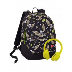 Zaino SEVEN THE DOUBLE -Skull Boy- - cuffie stereo Soft Touch! 2 zaini in 1 REVERSIBILE